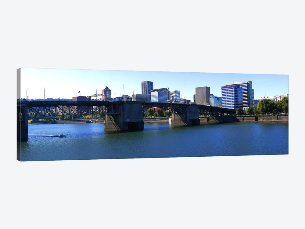 Bridge across a river, Burnside Bridge, Willamette River, Portland, Multnomah County, Oregon, USA 2010 by Panoramic Images 1-piece Art Print