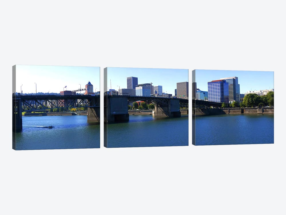 Bridge across a river, Burnside Bridge, Willamette River, Portland, Multnomah County, Oregon, USA 2010 by Panoramic Images 3-piece Art Print