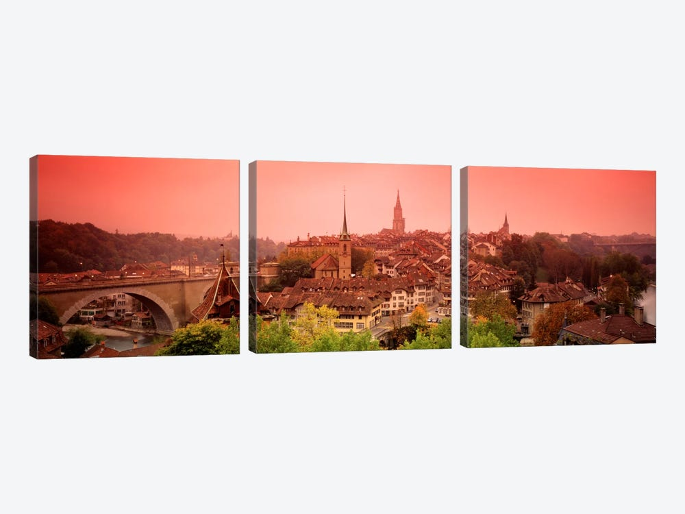 Dusk Bern Switzerland by Panoramic Images 3-piece Canvas Wall Art
