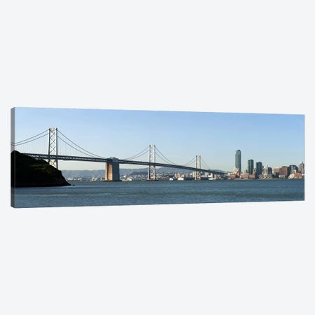 Suspension bridge across a bay, Bay Bridge, San Francisco Bay, San Francisco, California, USA 2010 Canvas Print #PIM8415} by Panoramic Images Canvas Art Print