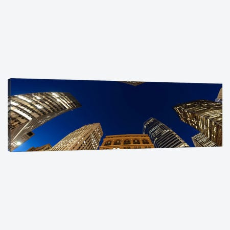 Low angle view of high-rise buildings at dusk, San Francisco, California, USA Canvas Print #PIM8417} by Panoramic Images Canvas Print