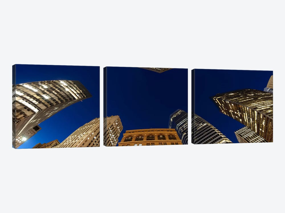 Low angle view of high-rise buildings at dusk, San Francisco, California, USA 3-piece Canvas Artwork