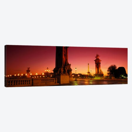 Distant View Of The Eiffel Tower Through Pont Alexandre III Socles, Paris, France Canvas Print #PIM841} by Panoramic Images Canvas Art