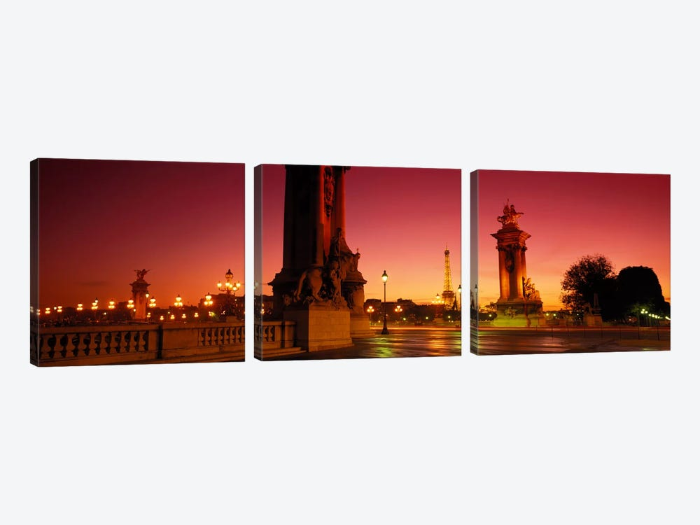 Distant View Of The Eiffel Tower Through Pont Alexandre III Socles, Paris, France by Panoramic Images 3-piece Canvas Artwork