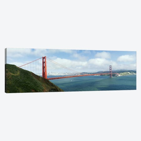 Suspension bridge across a bayGolden Gate Bridge, San Francisco Bay, San Francisco, California, USA Canvas Print #PIM8420} by Panoramic Images Canvas Print
