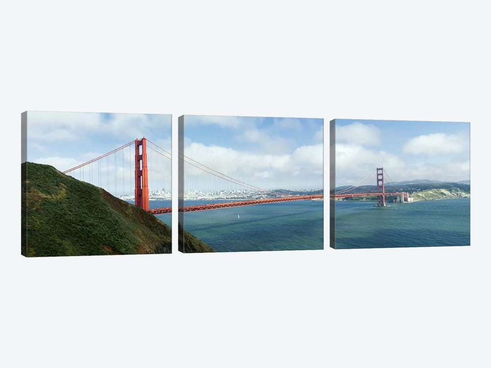 Suspension bridge across a bayGolden Gate Bridge, San Francisco Bay, San Francisco, California, USA by Panoramic Images 3-piece Canvas Artwork