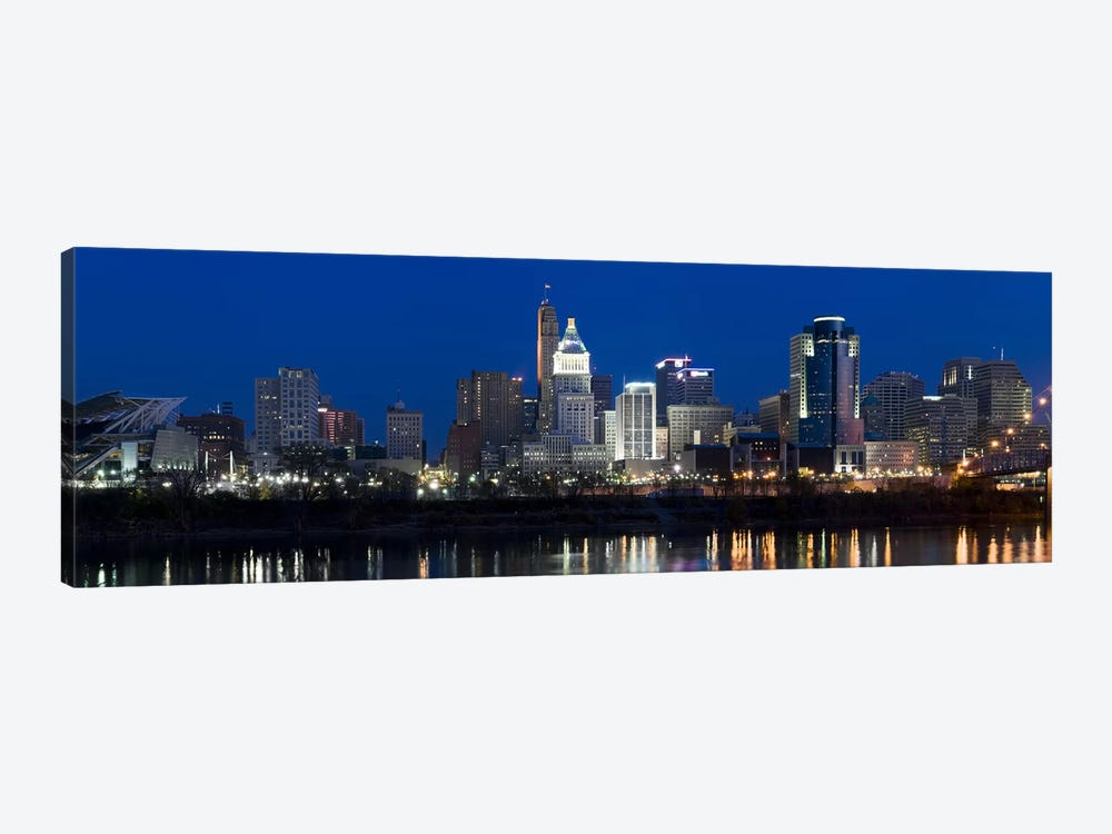 Cincinnati skyline and John A. Roebling Suspension Bridge at twilight from across the Ohio RiverHamilton County, Ohio, USA by Panoramic Images 1-piece Canvas Print