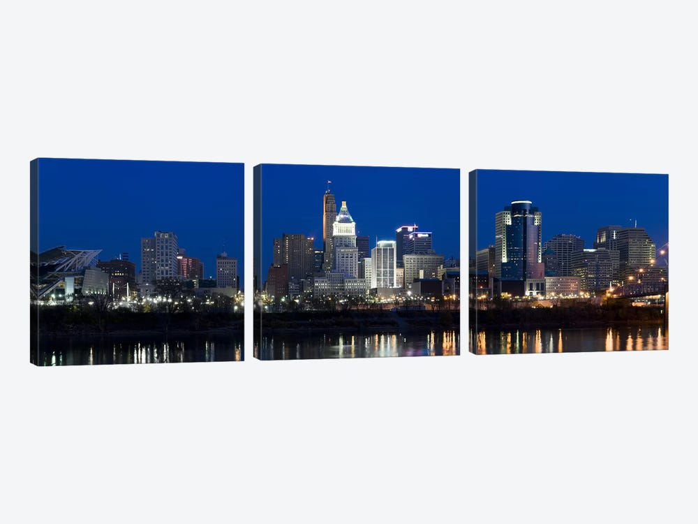Cincinnati skyline and John A. Roebling Suspension Bridge at twilight from across the Ohio RiverHamilton County, Ohio, USA by Panoramic Images 3-piece Canvas Print
