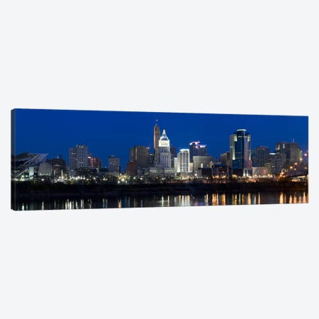 Cincinnati skyline and John A. Roebling Suspension Bridge at twilight from across the Ohio RiverHamilton County, Ohio, USA Canvas Print #PIM8421} by Panoramic Images Canvas Print