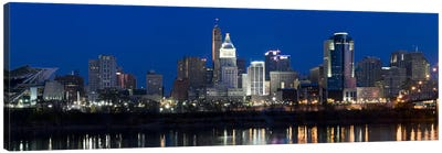 Cincinnati skyline and John A. Roebling Suspension Bridge at twilight from across the Ohio RiverHamilton County, Ohio, USA Canvas Print #PIM8421