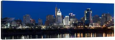 Cincinnati skyline and John A. Roebling Suspension Bridge at twilight from across the Ohio RiverHamilton County, Ohio, USA Canvas Art Print
