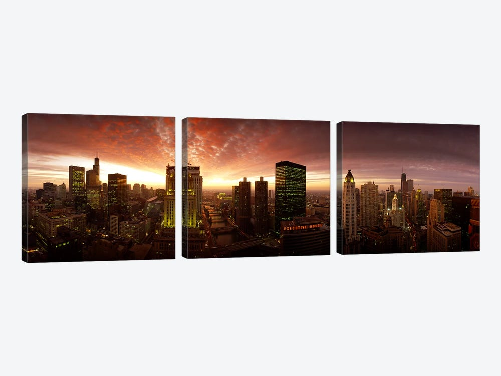 Sunset cityscape Chicago IL USA by Panoramic Images 3-piece Art Print