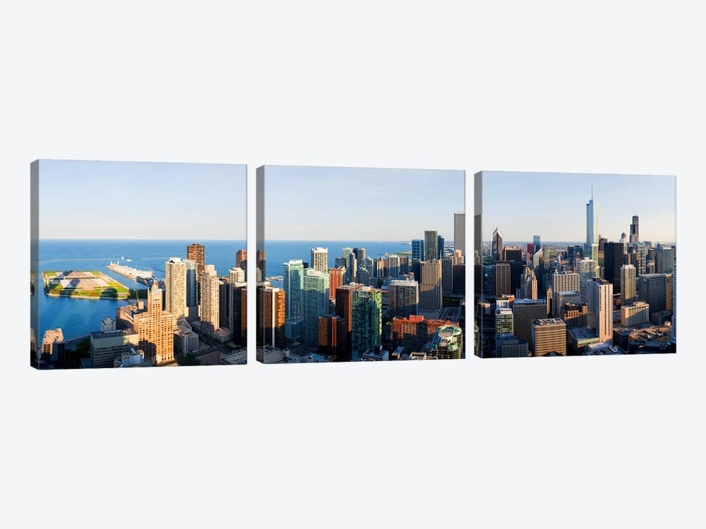 Buildings in a city, Chicago, Cook County, Illinois, USA 2010 by Panoramic Images 3-piece Canvas Wall Art