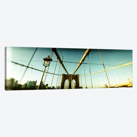 Suspension bridge with a city in the background, Brooklyn Bridge, Manhattan, New York City, New York State, USA Canvas Print #PIM8429} by Panoramic Images Art Print