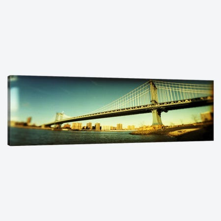 Suspension bridge with a city in the backgroundBrooklyn Bridge, Manhattan, New York City, New York State, USA Canvas Print #PIM8431} by Panoramic Images Canvas Artwork