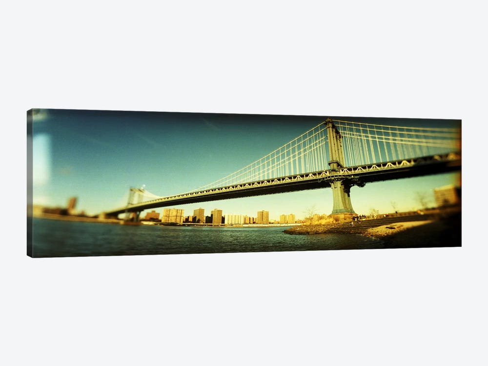 Suspension bridge with a city in the backgroundBrooklyn Bridge, Manhattan, New York City, New York State, USA 1-piece Canvas Art