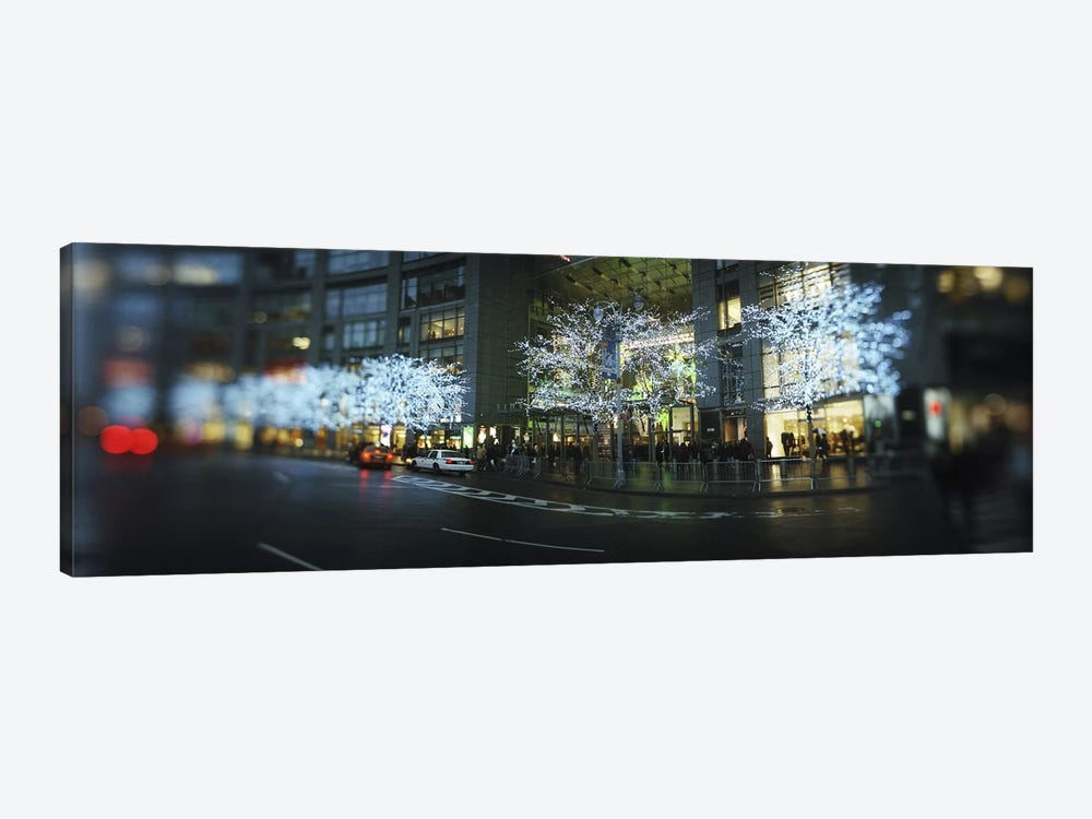 Buildings lit up at the roadsideColumbus Circle, New York City, New York State, USA by Panoramic Images 1-piece Canvas Print