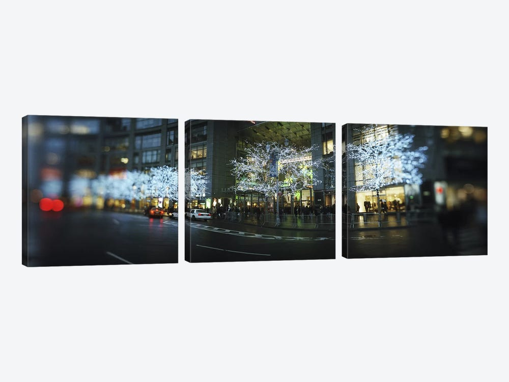 Buildings lit up at the roadsideColumbus Circle, New York City, New York State, USA by Panoramic Images 3-piece Art Print