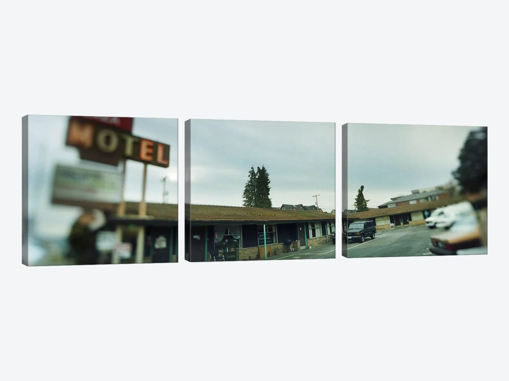 Motel at the roadside, Aurora Avenue, Seattle, Washington State, USA by Panoramic Images 3-piece Canvas Art