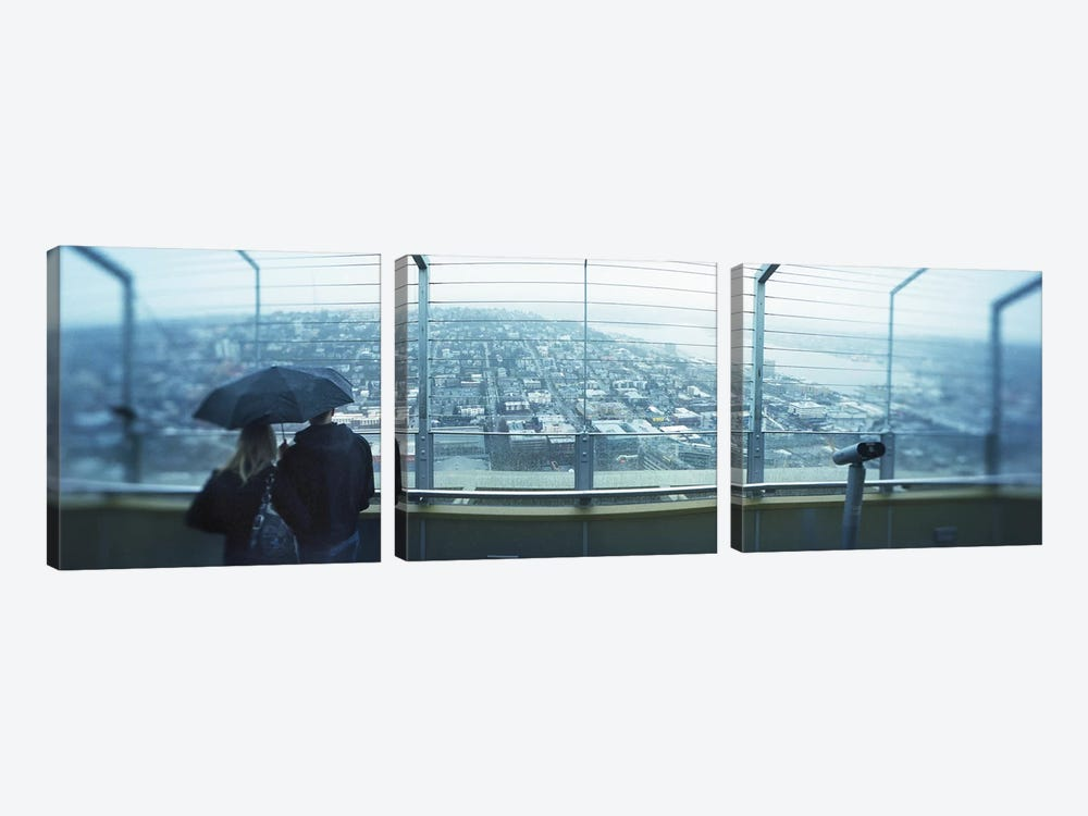 Couple viewing a city from the Space Needle, Queen Anne Hill, Seattle, Washington State, USA by Panoramic Images 3-piece Art Print