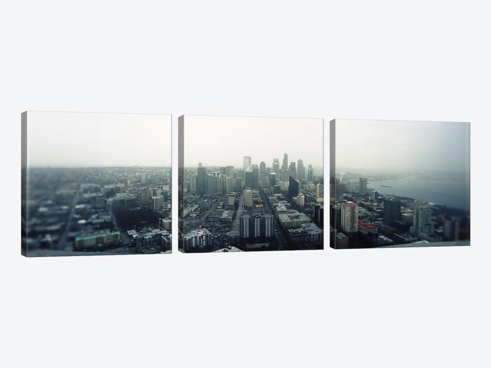 City viewed from the Space Needle, Queen Anne Hill, Seattle, Washington State, USA 2010 by Panoramic Images 3-piece Canvas Wall Art