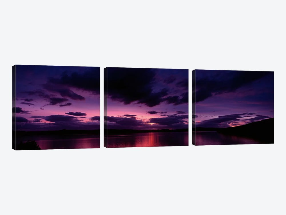 Dramatic Purple Sunset, Applecross Peninsula, Wester Ross, Highland, Scotland, United Kingdom by Panoramic Images 3-piece Canvas Print