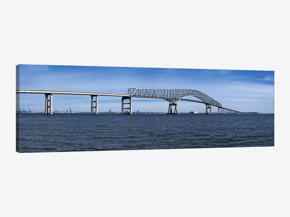 Bridge across a river, Francis Scott Key Bridge, Patapsco River, Baltimore, Maryland, USA by Panoramic Images 1-piece Canvas Art Print