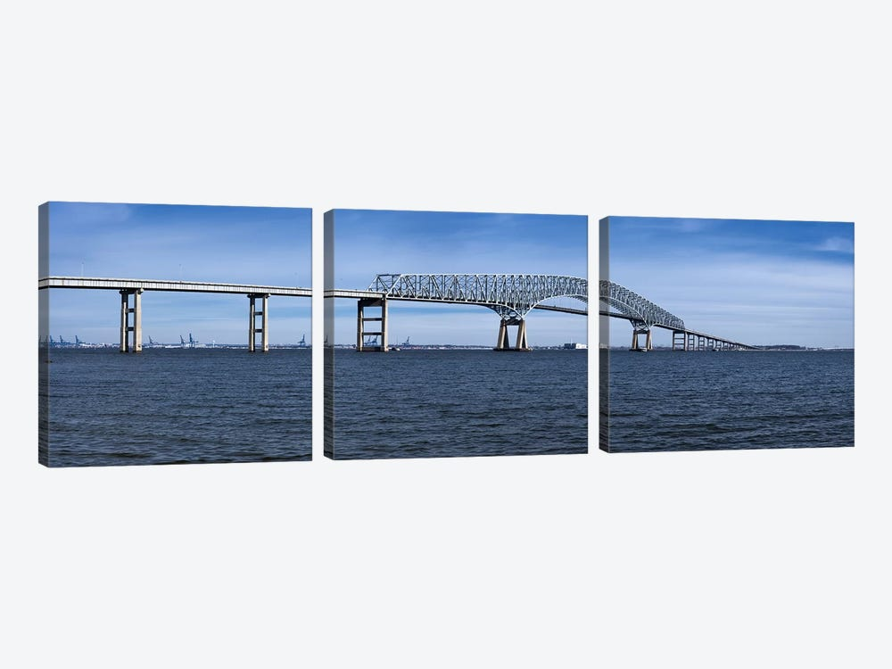 Bridge across a river, Francis Scott Key Bridge, Patapsco River, Baltimore, Maryland, USA by Panoramic Images 3-piece Canvas Print