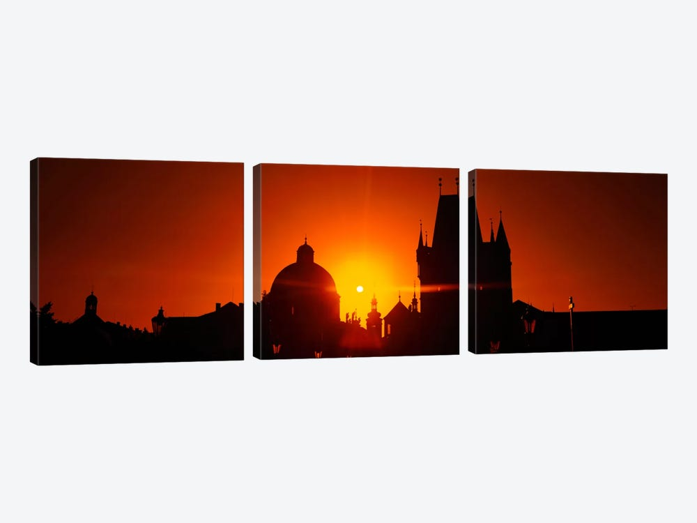 Sunrise Tower Charles Bridge Czech Republic by Panoramic Images 3-piece Canvas Print