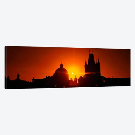 Sunrise Tower Charles Bridge Czech Republic Canvas Print #PIM844} by Panoramic Images Canvas Art Print