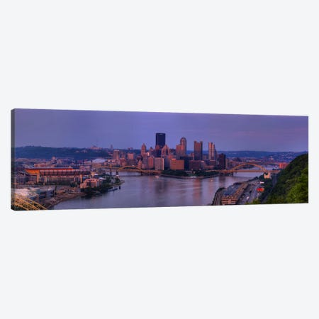 City viewed from the West End at SunsetPittsburgh, Allegheny County, Pennsylvania, USA Canvas Print #PIM8450} by Panoramic Images Canvas Wall Art