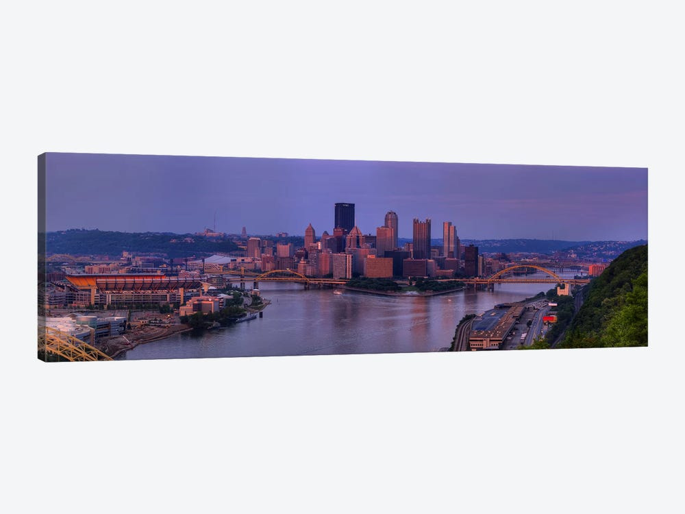 City viewed from the West End at SunsetPittsburgh, Allegheny County, Pennsylvania, USA by Panoramic Images 1-piece Art Print