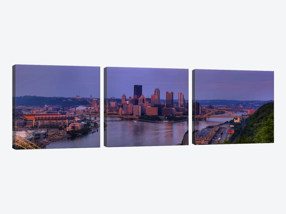 City viewed from the West End at SunsetPittsburgh, Allegheny County, Pennsylvania, USA by Panoramic Images 3-piece Art Print