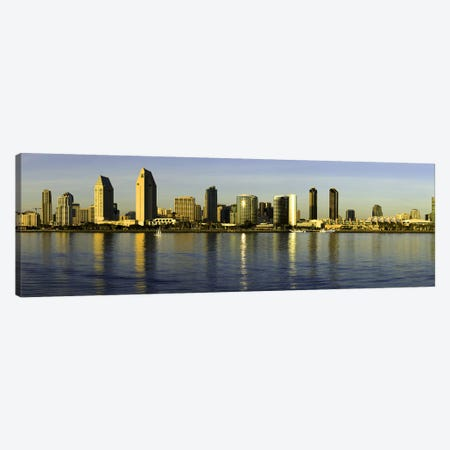 Reflection of skyscrapers in water at sunset, San Diego, California, USA Canvas Print #PIM8451} by Panoramic Images Canvas Artwork