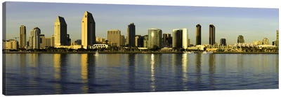 Reflection of skyscrapers in water at sunset, San Diego, California, USA Canvas Print #PIM8451