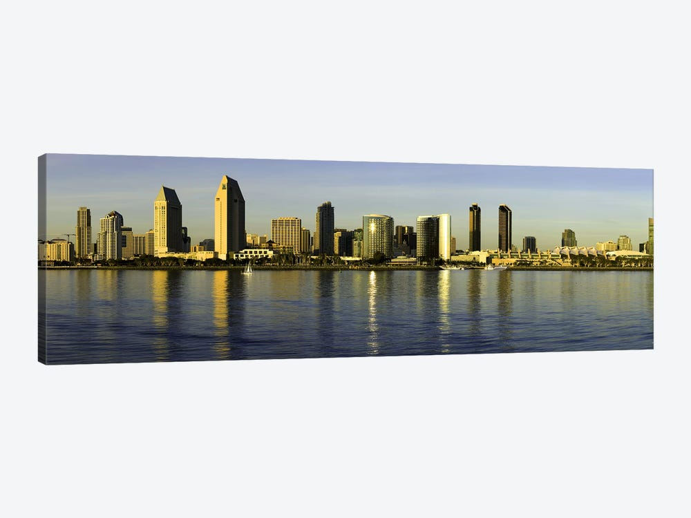 Reflection of skyscrapers in water at sunset, San Diego, California, USA by Panoramic Images 1-piece Canvas Art