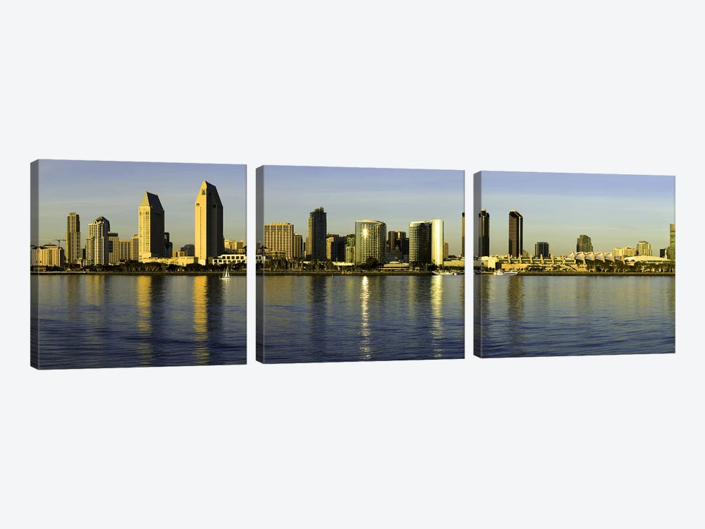 Reflection of skyscrapers in water at sunset, San Diego, California, USA by Panoramic Images 3-piece Canvas Art