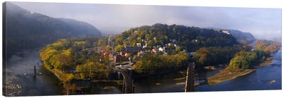 Aerial View Of Harpers Ferry, Jefferson County, West Virginia, USA Canvas Art Print