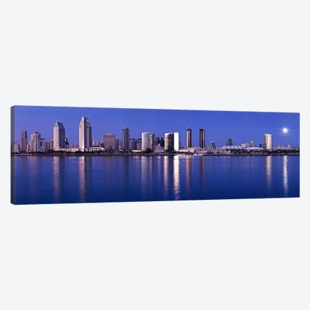 Moonrise over a city, San Diego, California, USA 2010 Canvas Print #PIM8453} by Panoramic Images Canvas Wall Art