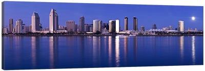 Moonrise over a city, San Diego, California, USA 2010 Canvas Print #PIM8453