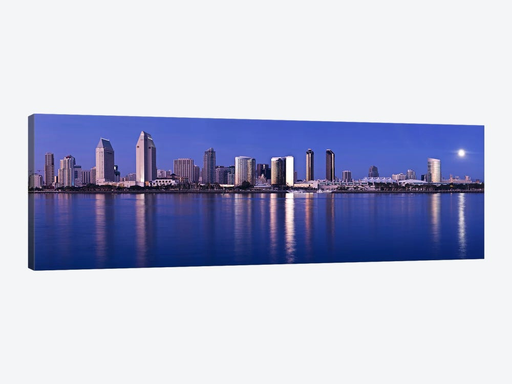 Moonrise over a city, San Diego, California, USA 2010 by Panoramic Images 1-piece Canvas Wall Art