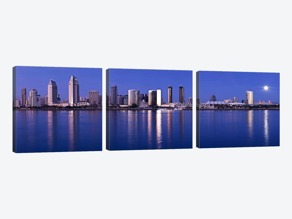 Moonrise over a city, San Diego, California, USA 2010 by Panoramic Images 3-piece Canvas Art