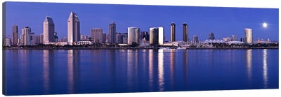 Moonrise over a city, San Diego, California, USA 2010 Canvas Art Print