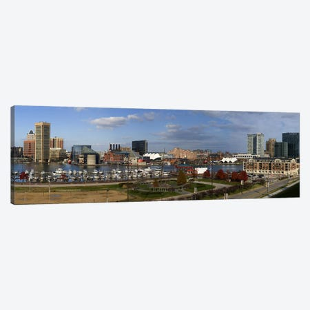 Buildings near a harbor, Inner Harbor, Baltimore, Maryland, USA 2009 Canvas Print #PIM8454} by Panoramic Images Art Print