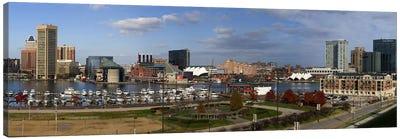 Buildings near a harbor, Inner Harbor, Baltimore, Maryland, USA 2009 Canvas Print #PIM8454