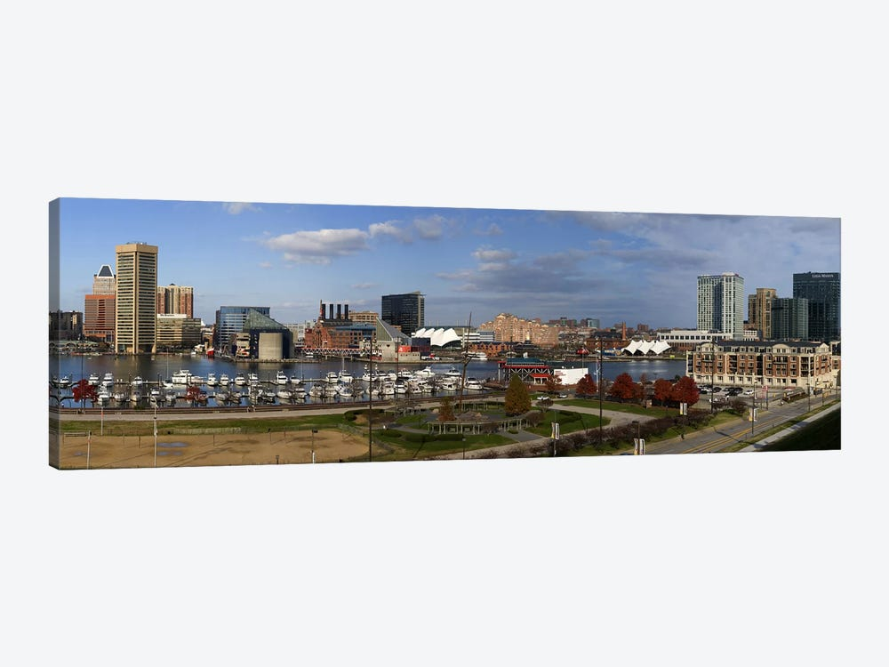 Buildings near a harbor, Inner Harbor, Baltimore, Maryland, USA 2009 by Panoramic Images 1-piece Canvas Art Print