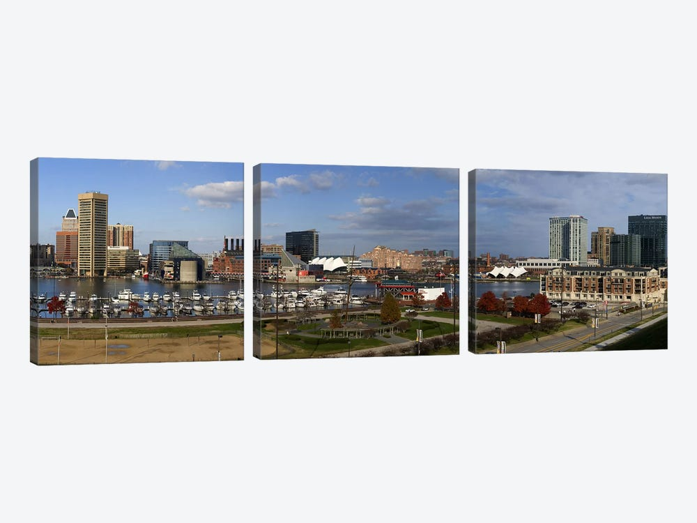 Buildings near a harbor, Inner Harbor, Baltimore, Maryland, USA 2009 by Panoramic Images 3-piece Art Print