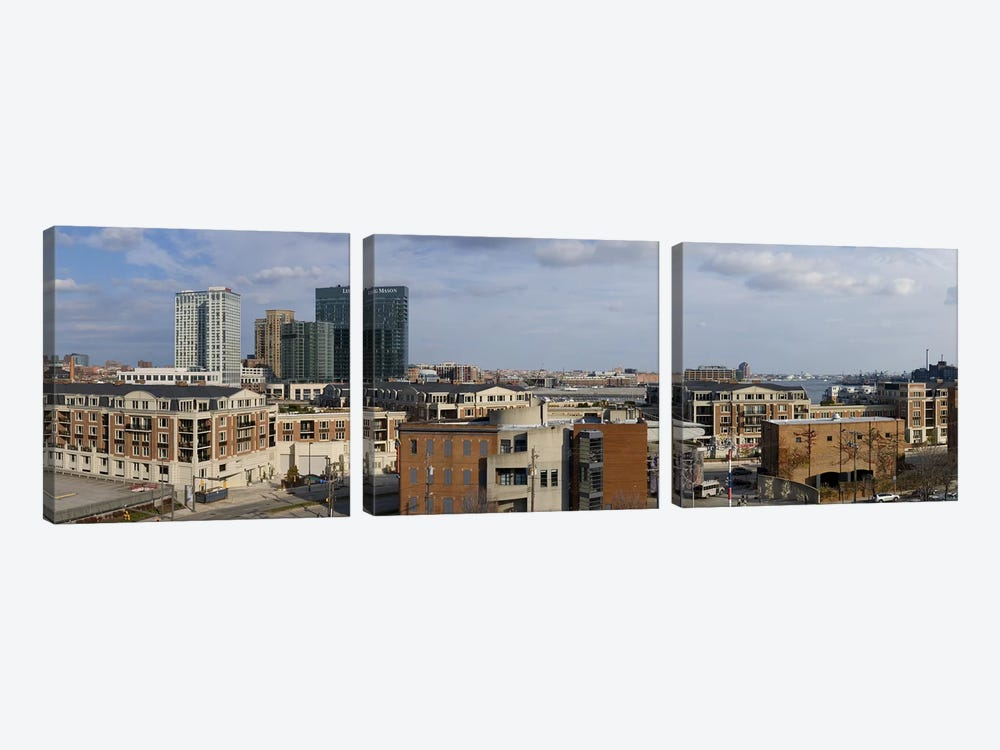 Buildings near a harbor, Inner Harbor, Baltimore, Maryland, USA 2009 #2 by Panoramic Images 3-piece Canvas Art