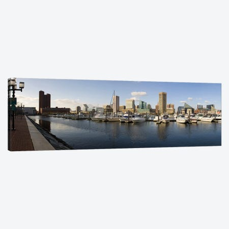 Boats moored at a harbor, Inner Harbor, Baltimore, Maryland, USA 2009 Canvas Print #PIM8456} by Panoramic Images Art Print