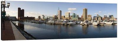 Boats moored at a harbor, Inner Harbor, Baltimore, Maryland, USA 2009 Canvas Print #PIM8456